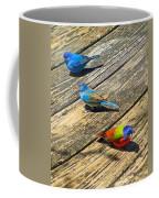 Blue And Indigo Buntings - Three Little Buntings Coffee Mug