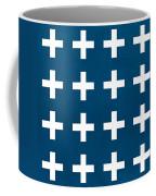 Blue And White Plus Sign Coffee Mug