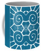Blue And White Wave Tile- Abstract Art Coffee Mug