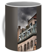 Blue Awnings With Yellow Light Coffee Mug