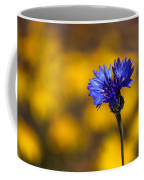Blue Bachelor Button On Gold Coffee Mug