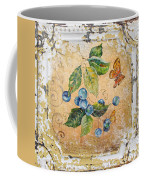 Blue Berries And Butterfly On Vintage Tin Coffee Mug