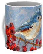 Blue Bird In Winter - Tuft Titmouse Modern Impressionist Art Coffee Mug