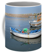 Blue Boat In Sozopol Harbour Coffee Mug