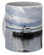 Blue Boat On The Wharf Coffee Mug