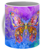 Blue Butterfly Floral Coffee Mug