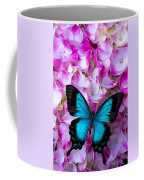 Blue Butterfly On Pink Hydrangea Coffee Mug