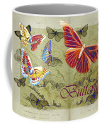 Blue Butterfly - Orange On Green - S02a Coffee Mug by Variance Collections