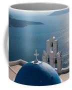 Blue Domed Church In Santorini Greece Coffee Mug