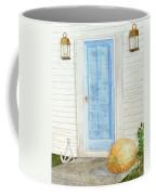 Blue Door With Pumpkin Coffee Mug