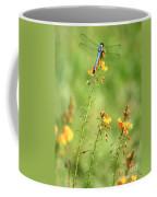 Blue Dragonfly In The Flower Garden Coffee Mug