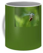 Blue Dragonfly Sitting On A Dry Red Plant Coffee Mug