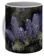 Blue Fir Cones 2 Outlined Coffee Mug