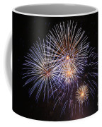 Blue Fireworks At Night Coffee Mug