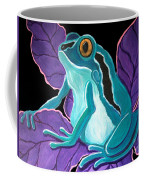 Blue Frog Purple Flower Coffee Mug