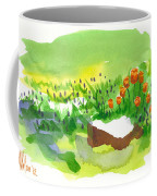 Blue Grape Hyacinths With Red Tulips And Tree Stump Coffee Mug