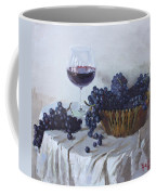 Blue Grapes And Wine Coffee Mug by Ylli Haruni