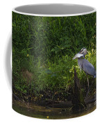 Blue Heron With A Fish-signed Coffee Mug
