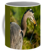 Blue Heron With A Snake In Its Bill Coffee Mug
