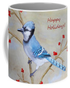 Blue Jay Happy Holidays Coffee Mug