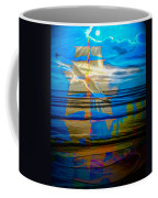 Blue Moonlight With Seagull And Sails Coffee Mug