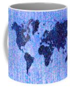 Blue Pointillist World Map Coffee Mug