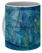 Blue Schooner Pen & Ink With Wc On Paper Coffee Mug