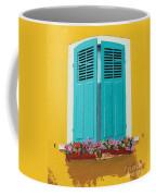 Blue Shutters And Flower Box Coffee Mug