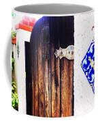 Blue Tile Brown Door 1 Coffee Mug