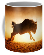 Blue Wildebeest Running In Dust Coffee Mug