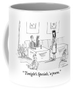 Bluesy Waitress Stands Speaking To A Couple Coffee Mug