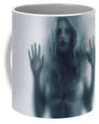 Blurred Young Woman Silhouette Behind Glass Coffee Mug