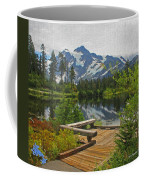 Board Walk- Lake- Fir Trees And Mount Baker Coffee Mug