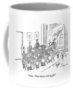 Boardroom With Boss Speaking At Piano Shaped Coffee Mug