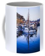 Boat Mast Reflection In Blue Ocean At Dock Morro Bay Marina Fine Art Photography Print Coffee Mug