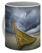 Boat On The Beach With Oncoming Storm Coffee Mug