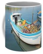 Boat Reflected In Sozopol Harbour Coffee Mug