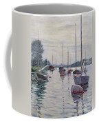 Boats Anchored On The Seine Coffee Mug by Gustave Caillebotte