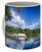 Boats At Dock On A Lake With Blue Sky Coffee Mug