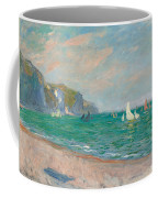 Boats Below The Pourville Cliffs Coffee Mug