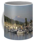 Boats Docked At A Harbor With Mountain Coffee Mug