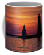 Boats Entering The Channel At The Muskegon Lighthouse Coffee Mug