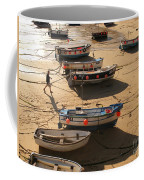 Boats On Beach Coffee Mug by Pixel  Chimp
