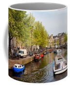 Boats On Canal Tour In Amsterdam Coffee Mug