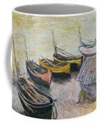 Boats On The Beach Coffee Mug by Claude Monet