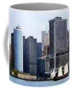 Boats - Schooner Against The Manhattan Skyline Coffee Mug
