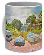 Boats Up On The Beach - Horizontal Coffee Mug