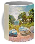 Boats Up On The Beach - Square Coffee Mug