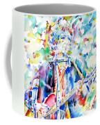 Bob Dylan Playing The Guitar - Watercolor Portrait.1 Coffee Mug