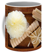 Body Care Accessories In Wood Tray Coffee Mug
